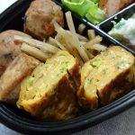 ひじき入りがんもとごぼうの煮物・ネギ入り玉子焼き・ポテトサラダ
