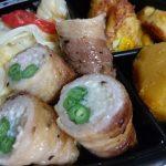 エノキといんげん豚ロール・かぼちゃ煮・ハッシュドポテト・蒸し野菜・かぼちゃ煮