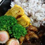 茄子と豚肉の愛知風味噌炒め・ちくわとソーセージロール・ブロッコリー・玉子焼き